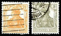 Lot 20054 [3 of 3]:1916-18 Germania Unshaded Mi #99-104 7½pf orange (3 shades), 15pf yellow-brown, 15pf violet, 2pf grey & 75pf (3 shades), range. (10)