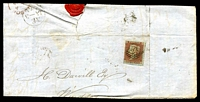 Lot 4176:23: (numerals 5mm high) of Bexley on 3-margins 1d red-brown on blued [OB - B has trimmed base] on piece.