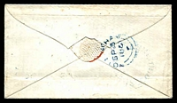 Lot 3877 [2 of 2]:1850 use of nice 3-margins 1d red on blue [QA], light blue 'SUTTON-IN-ASHFIELD' (C1-) backstamp.
