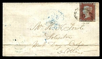 Lot 3877 [1 of 2]:1850 use of nice 3-margins 1d red on blue [QA], light blue 'SUTTON-IN-ASHFIELD' (C1-) backstamp.