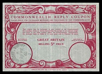 Lot 22448:1968(C.) Commonwealth Reply Coupon 5d red issued at Weybridge on 29FE/68.
