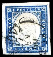 Lot 23784:1855-63 Victor Emmanuel II Embossed SG #46 20c blue 4-magins, Cat £43.