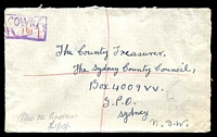 "Lot 6376:Cowra: - 'COWRA/R ""1017""' violet registration handstamp on 1942 cover with stamp removed.  PO 1/1/1850."
