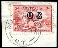 Lot 1381:Alice Springs: - 29mm 'ALICE SPRINGS/13MR33/N.T.' on 2d Bridge 'OS'.  PO 1/1/1878.