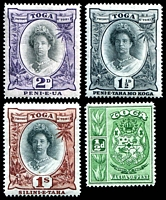 Lot 4487 [2 of 2]:1920-35 Queen Salote SG #55-63 set excl 2d Die I and 2½d bright ultramarine, Cat £19. (8)