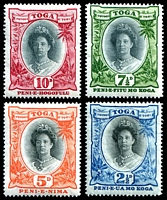 Lot 4487 [1 of 2]:1920-35 Queen Salote SG #55-63 set excl 2d Die I and 2½d bright ultramarine, Cat £19. (8)