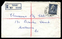 Lot 2401:Briar Hill: - WWW #10A 'BRIAR HILL/12MY56/VIC, on 1/0½d on cover with blue registration label. [Rated R]  TO 19/5/1924; PO 1/9/1924; LPO 28/7/1993.