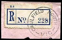 Lot 2422:Caulfield North: - WWW #10A 'CAULFIELD NORTH/2?NO42/VIC' on blue provisional registration label. [Rated R]  PO 26/3/1915; LPO 29/10/1993.