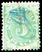 Lot 3413:1902 Converted NSW Plates BW #D7a 3d emerald P11½-12, wmk upright, Cat $40, mss cancel.