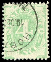 Lot 611:1902 Converted NSW Plates BW #D8d 4d emerald P11½-12 wmk inverted with Diagonal white scratch through lower left spandrel, Cat $25.
