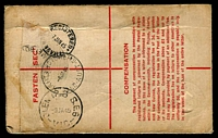 Lot 867 [2 of 2]:1945 use of on 9d Platypus on 5½d Registration Envelope (ASC #R33) cancelled with 'CHARTERS TOWERS/6JA45/QLD-AUST' (ERD), airmail to Melbourne with blue & black M6 label. [Extra 9d was for 3d airmail & 6d additional compensation.]