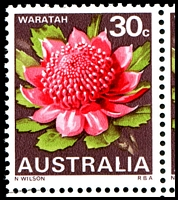 Lot 580 [2 of 2]:1968-74 Floral Emblems BW #588g 30c Waratah 2nd cylinders lower BRC block of 8 with White flaw on upright of L of AUSTRALIA [LP 4/7], Cat $30++.