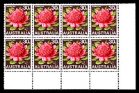 Lot 580 [1 of 2]:1968-74 Floral Emblems BW #588g 30c Waratah 2nd cylinders lower BRC block of 8 with White flaw on upright of L of AUSTRALIA [LP 4/7], Cat $30++.