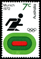 Lot 777:1972 Olympics BW #601f 7c Athletics Retouch in light green on lower portion of track [LP4/7], Cat $12.