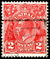 Lot 534:2d Red Die III [2R59] State II with thin right frame behind emu etc