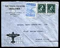 Lot 3148:1950 (Jul 17) use of 4f Textiles & 5f Albert pair on air cover from Brussells to Sydney.