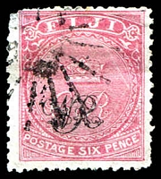 Lot 4016:1876-77 'VR' Underprint on Laid Paper SG #33 6d rose, Cat £32, thinned TLC.