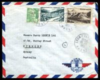 Lot 3572:1951 (Aug 10) use of 5f & 40f & 50f Views on air cover from Lyon to Sydney.