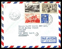 Lot 3747:1951 (Nov 23) use of 15f & 20f & 40f Views & 100f Lille on double-weight air cover from Paris to Sydney.