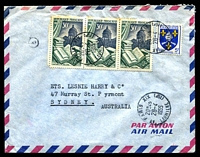 Lot 3962:1955 (Apr 28) use of 5f & 30f Ruliere x3 (toned perfs) on air cover to Sydney.