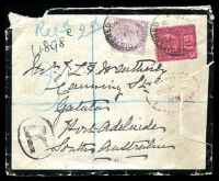 Lot 3879 [1 of 2]:1900 use of 1d lilac Die II & 6d purple on rose-red (SG #208, Cat £75) on registered mourning cover South Australia, squared-circle 'ALBERTON/2/OC8/00/S