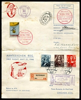 Lot 26078 [1 of 2]:1946 Boesman Balloon cover then forwarded by registered airmail in first flight Amsterdam - New York, signed Boesman, Balloon cinderella tied by flight cachet, odd tonespots. A separate aerogramme from the Dutch Postal Service provides details on the flight [300 flown.]
