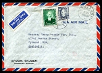 Lot 24204:1952 (Feb 29) use of 25ø & 1k, cancelled with double-circle 'HUSØYSUND/29II52/*', air to Sydney.