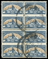 Lot 4576:1948 Goldmining Duplex SG #124 block of 8, Cat £22, couple of units affected by toning.