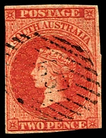 Lot 1764:25: '25' on 2d blood-red PB Imperf.  Allocated to Gawler-PO 18/5/1841.