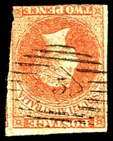 Lot 8099:5: on imperf 2d red-orange, early use.  Allocated to North Adelaide-RH 3/1/1850; closed 1/1/1861.