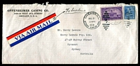 Lot 4533 [1 of 2]:1938 use of 3c Iowa Centenary & 5c Prexie on cover to Australia. [Paying internal airmail from Chicago and then ship mail to Australia.]