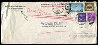 "Lot 4489 [1 of 2]:1939 (Sep 25?) use of 30c Bison on air cover from New York to Sydney, endorsed ""TRANS-ATLANTIC AIRMAIL"", violet 'Returned for Additional Postage/POSTAGE DUE ""40"" CENTS' handstamp on face, 25c Airmail & 3c & 12c Prexies added and cancelled on Sep 26."