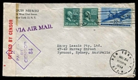 Lot 4761:1944 (Mar 24) use of 20c Prexie pair & 30c Air on clipper cover from New York to Sydney, red on white '2/OPENED BY CENSOR/' label at left tied by violet '2/PASSED/BY/CENSOR/84'.