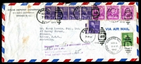 "Lot 4273:1949 (Nov 3) use of 3c x8 on air cover from Chicago to Sydney, violet 'Reurned for ""1"" ¢ additional postage/...' handstamp on face, 1c Prexie added and cancelled on Nov 4."