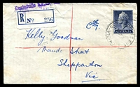 Lot 2432 [1 of 2]:Coatesville: - WWW #10A light 'COATESVILLE S.E.15/5JY57/VIC-AUST' (arcs 1½,1, A2 backstamp) on 1/0½d QEII on cover to Melbourne with blue provisional registration label. [Rated 2R]  PO 1/4/1955; LPO 24/8/1993.