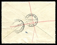 Lot 2476 [2 of 2]:Elwood (1): - WWW #20A 'ELWOOD/23MR37/VIC' (arcs 7½,7½) on 5d KGV on cover with blue registration label. [Rated S]  PO 31/3/1914; renamed Elwood Delivery Centre DC 1/4/1999.