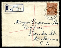 Lot 2476 [1 of 2]:Elwood (1): - WWW #20A 'ELWOOD/23MR37/VIC' (arcs 7½,7½) on 5d KGV on cover with blue registration label. [Rated S]  PO 31/3/1914; renamed Elwood Delivery Centre DC 1/4/1999.