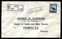 Lot 14924 [1 of 2]:Fitzroy (2): - WWW #134 46x27mm oval 'POST OFFIC[E]/2OCT1942/FITZROY, N.6' backstamp in violet on cover, 5½d Emu cancelled with 'DROUIN/30SE42/VIC-AUST' (#70A - A1-), boxed 'TOO LATE' (A1) on face. [Rated 2R]  RH 2/2/1874; PO 10/9/1877.