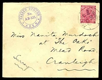 Lot 19297:1917 use of India 1a, cancelled with 'ADEN/10FE17/4 20PM' (B1) on cover to England, violet triple-circle 'PASSED CENSOR/No./AB-15/ADEN' (A1+) on face, back damaged.