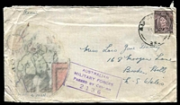Lot 5503:1945 use of 3d brown KGVI, cancelled with poor 'A.I.F. FIELD P.O./?45/NO.25' (Aitape, NG), colour transfer of fat man drinking, violet 'AUSTRALIAN/MILITARY FORCES/PASSED BY CENSOR/2136' (A1) both on face.