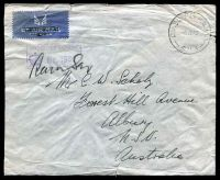 Lot 648:Div. Supply H.Q.P.O. 'DIV SUPPLY H.Q.P.O./6JE40/S.M.1' (Julis, Palestine) on stampless cover to Rose Bay, NSW, with boxed 'PASSED BY CENSOR/[crown] No. 1939' (A1) in purple. [Rated 150 by Proud]
