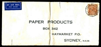 Lot 1116:1936 use of 5d KGV, cancelled with 'AIR MAIL HOBART/3-P20AP36/TAS.' (A1) on long pre-addressed air cover to Sydney, folded.