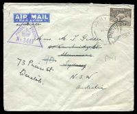Lot 5356:Army P.O. poor 'ARMY P.O./11AU41/A.M.1' (Mersa Matruh, Egypt) on 9d Platypus on cover to Sydney, violet triangle 'PASSED BY