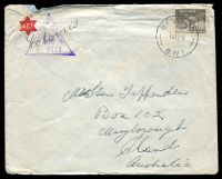 Lot 5129:Base P.O. 'BASE P.O./16AU41/B.W.2.' (Gaza, Palestine, Proud #D3), on 9d platypus, on to Maryborough, Qld, with violet triangle 'PASSED BY CENSOR/[crown]/No. 3373' (A1) on face. [Rated 125 by Proud]
