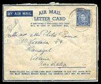 Lot 669:Railhead P.O. 'RAILHEAD P.O./7AU41/R.W.1.' (Deir Suneid, Palestine), on 3d blue KGVI, on airmail letter card to Warragul, Vic, with triangular 'PASSED BY/CENSOR/[crown]/No. 916' (A1). [Rated 200 by Proud]