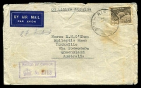 Lot 894:A.I.F. Field P.O. 'A.I.F. FIELD P.O./24NO41/NO.6.' (Julis, Palestine), on 9d Platypus on Rockville, Qld, with violet boxed 'PASSED BY CENSOR/[crown] No. 2713' (B1). [Rated 150 by Proud]