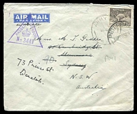 Lot 882:Army P.O. poor 'ARMY P.O./11AU41/A.M.1' (Mersa Matruh, Egypt) on 9d Platypus on cover to Sydney, violet triangle 'PASSED BY
