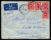 Lot 5562:Div. H.Q. P.O. 'DIV. H.Q. P.O./16DE40/D.M.1' (Ikingi Mariut, Egypt), on 10m carmine x4, on cover to South Melbourne, with double-boxed 'PA[SSED BY]