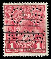 Lot 173:1d Red Smooth Paper perf 'OS/NSW' .