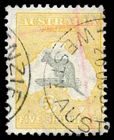 Lot 169:5/- Grey & Yellow BW #46(D)da Broken coast near Sydney [L2], Cat $125, red pencil cross.